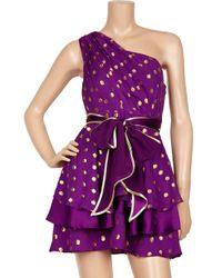 Thread Social | Purple Polka-dot Silk-blend Chiffon Dress | Lyst
