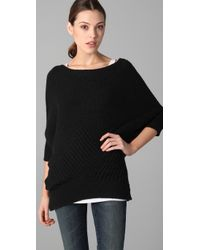 VINCE | Black Checkerboard Dolman Sleeve Sweater | Lyst