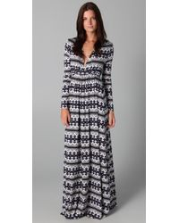 Rachel Pally | Blue Long Sleeve Full Length Caftan Dress | Lyst