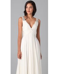 Reem Acra - White V Neck Gown with Jeweled Straps - Lyst