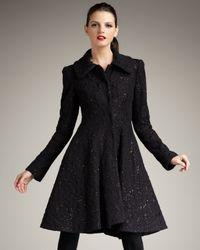 Alice + Olivia | Black Bennett Flared Coat | Lyst