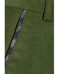 Daks Green Brushed Stretch-cotton Pants
