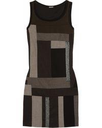 DKNY Gray Paneled Wool-blend Dress