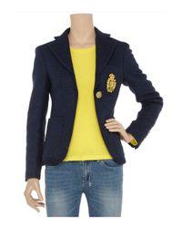 Sara Berman Blue Carina Harris Tweed Wool Blazer