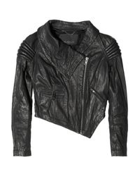 Yigal Azrouël Black Cropped Leather Motocross Jacket