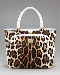 Dolce & Gabbana | White Miss Ann Leopard-print Handbag | Lyst