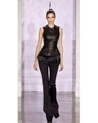 Cushnie et Ochs - Black Sleeveless Leather Peplum Top - Lyst