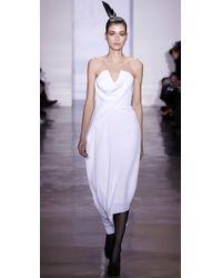 Cushnie et Ochs - White Falling Drape Dress with Peaked Bustier - Lyst