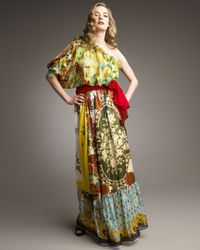 Dolce & Gabbana Multicolor Asymmetric Mixed-print Maxi Dress