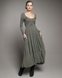 Donna Karan | Green Empire-waist Jersey Dress | Lyst