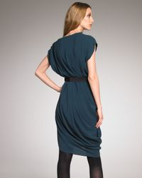 Lanvin | Blue Asymmetric Draped Dress | Lyst
