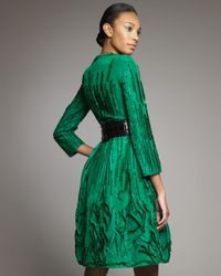 Oscar de la Renta | Green Embroidered Coatdress | Lyst