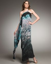 Roberto Cavalli - Blue Graphic-print Cross-shoulder Gown - Lyst