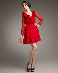 Valentino | Red Ruffle-neck Dress | Lyst