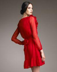 Valentino | Red Ruffle-neck Dress | Lyst