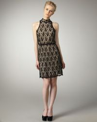 Alice + Olivia | Black High-neck Lace Dress | Lyst