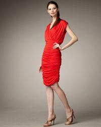 Alice + Olivia Red Nanette Ruched Skirt Dress