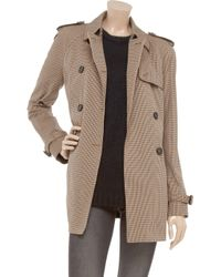 Daks Brown Checked Cotton-blend Twill Trench Coat
