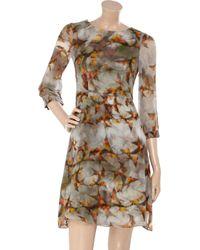 Erdem - Gray Angelica Swallow-print Silk Dress - Lyst