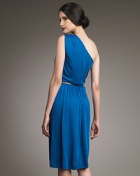 Fendi Blue Belted One-shoulder Dress