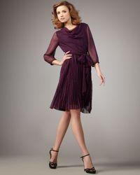 Halston | Purple Polka-dot Combo Dress | Lyst