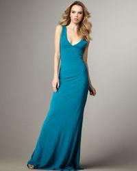 Halston | Blue Deep-v Long Dress | Lyst