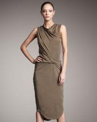 Helmut Lang - Green Torrent Cowl-neck Dress - Lyst
