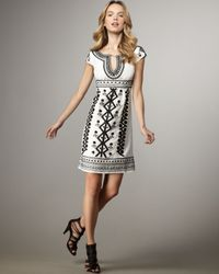 Nanette Lepore - White Cap Sleeve Embroidered Blow-away Dress - Lyst