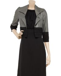 Robert Rodriguez Gray Woven-trim Cropped Jacket