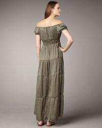 T-bags - Green Off-the-shoulder Maxi Dress - Lyst
