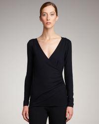 Akris Punto | Black Faux-wrap V-neck Shirt | Lyst