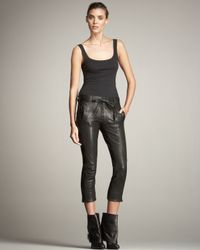 Ann Demeulemeester | Black Cropped Leather Trousers | Lyst