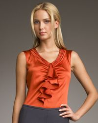 Armani | Orange Ruffle-front Satin Blouse | Lyst