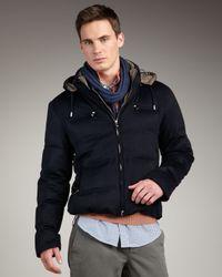 Brunello Cucinelli | Blue Hooded Cashmere Jacket for Men | Lyst