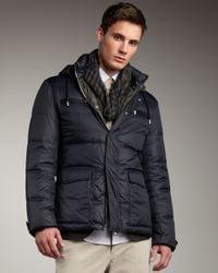Brunello Cucinelli - Blue Hooded Puffer Coat for Men - Lyst