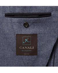 Canali Blue Sienna Slim-fit Slub Wool And Silk-blend Suit Jacket for men