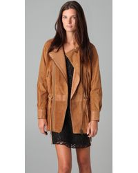 Catherine Malandrino | Natural Suede Jacket with Drawstring Waist | Lyst