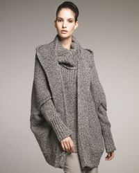 Donna Karan | Green Lofty Cashmere Tweed Hooded Jacket | Lyst