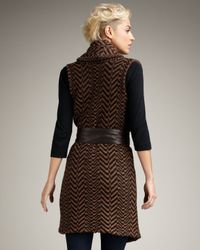Elizabeth and James | Black Herringbone Shawl Vest | Lyst