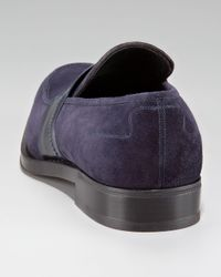 Ferragamo - Blue Cannes Suede Penny Loafer - Lyst