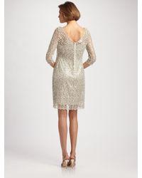 Kay Unger - Metallic Beaded Lace Dress - Lyst