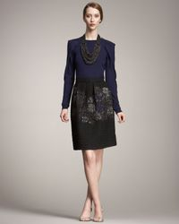 Lela Rose | Black Matelasse Skirt | Lyst