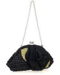 Lulu Guinness Black Tippi Appliqué Raffia Clutch