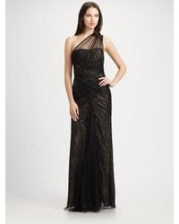 ML Monique Lhuillier | Black Lace and Tulle One Shoulder Gown | Lyst