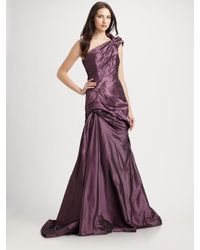 ML Monique Lhuillier - Purple One Shoulder Taffeta Gown - Lyst