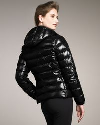 Moncler - Black Laque Hooded Puffer Jacket - Lyst
