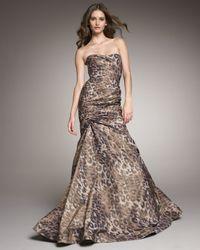 Monique Lhuillier | Multicolor Leopard-print Trumpet Gown | Lyst