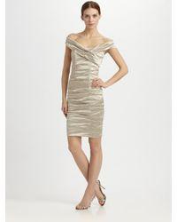Nicole Miller Off The Shoulder Metallic Dress Lyst