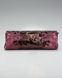 Prada | Purple Sequin Frame Clutch | Lyst