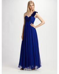 Teri Jon | Blue Rosette-strap Chiffon Gown | Lyst